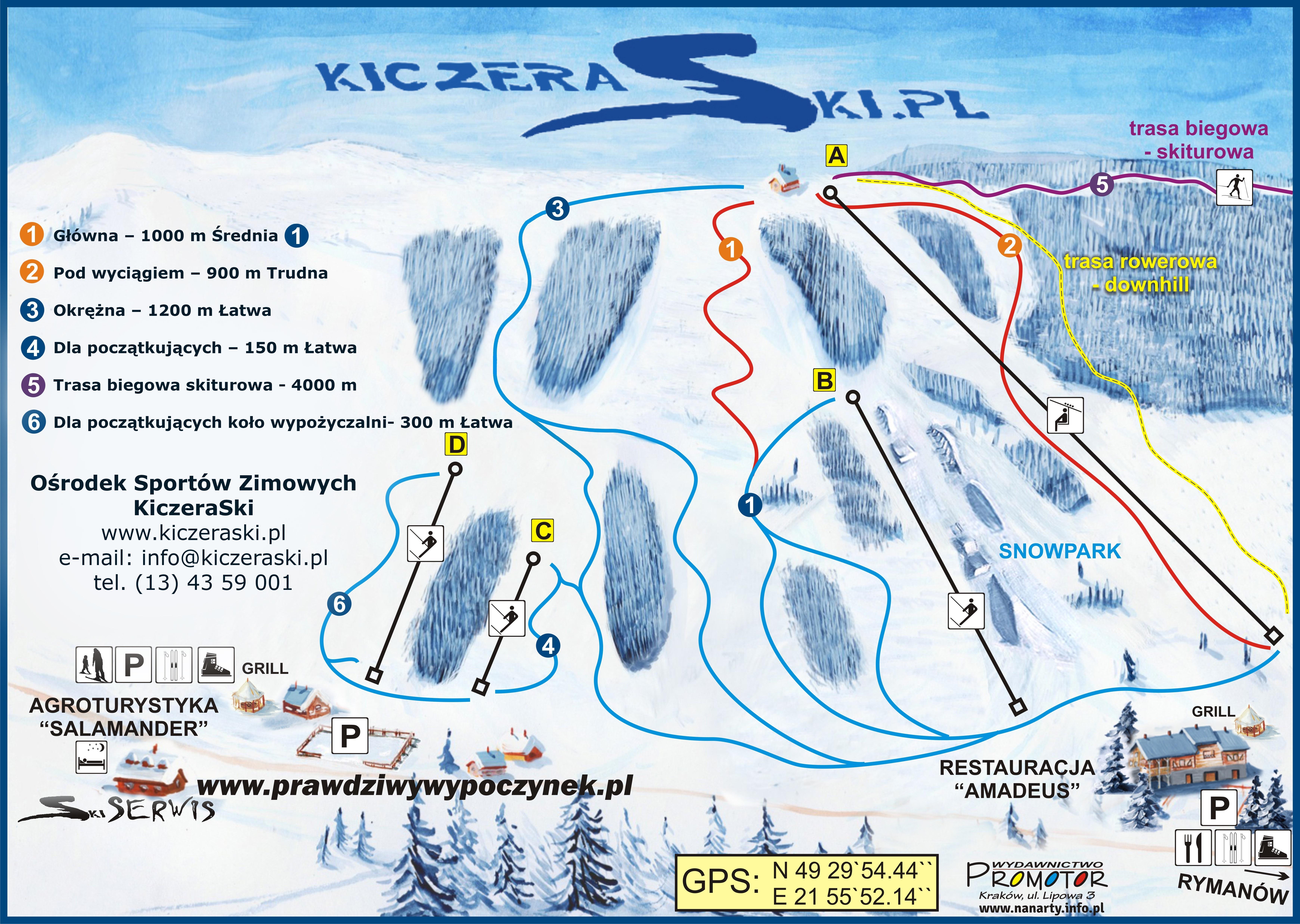 Kiczera Ski mapa